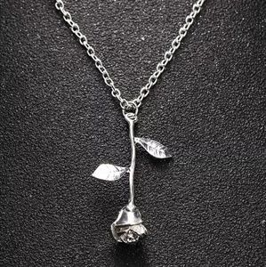 Rose Flower Simple Minimalistic Silver Necklace